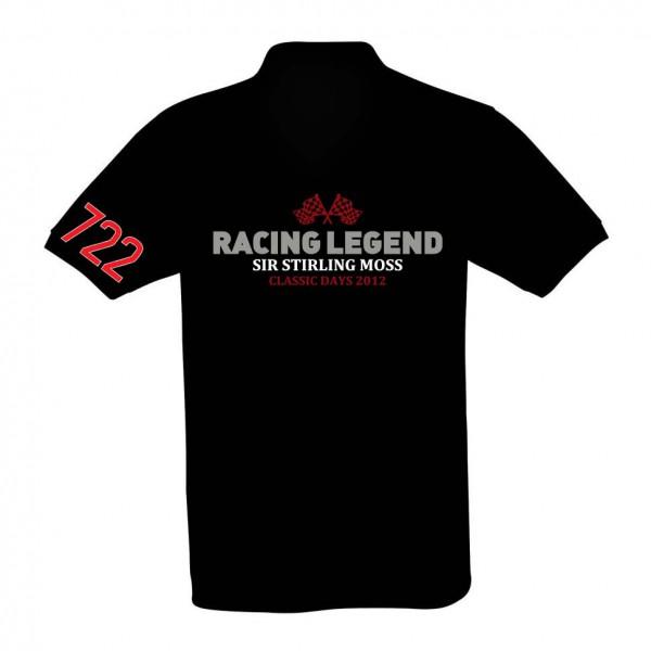 Herren Poloshirt   Racing Legend Sir Stirling Moss   schwarz